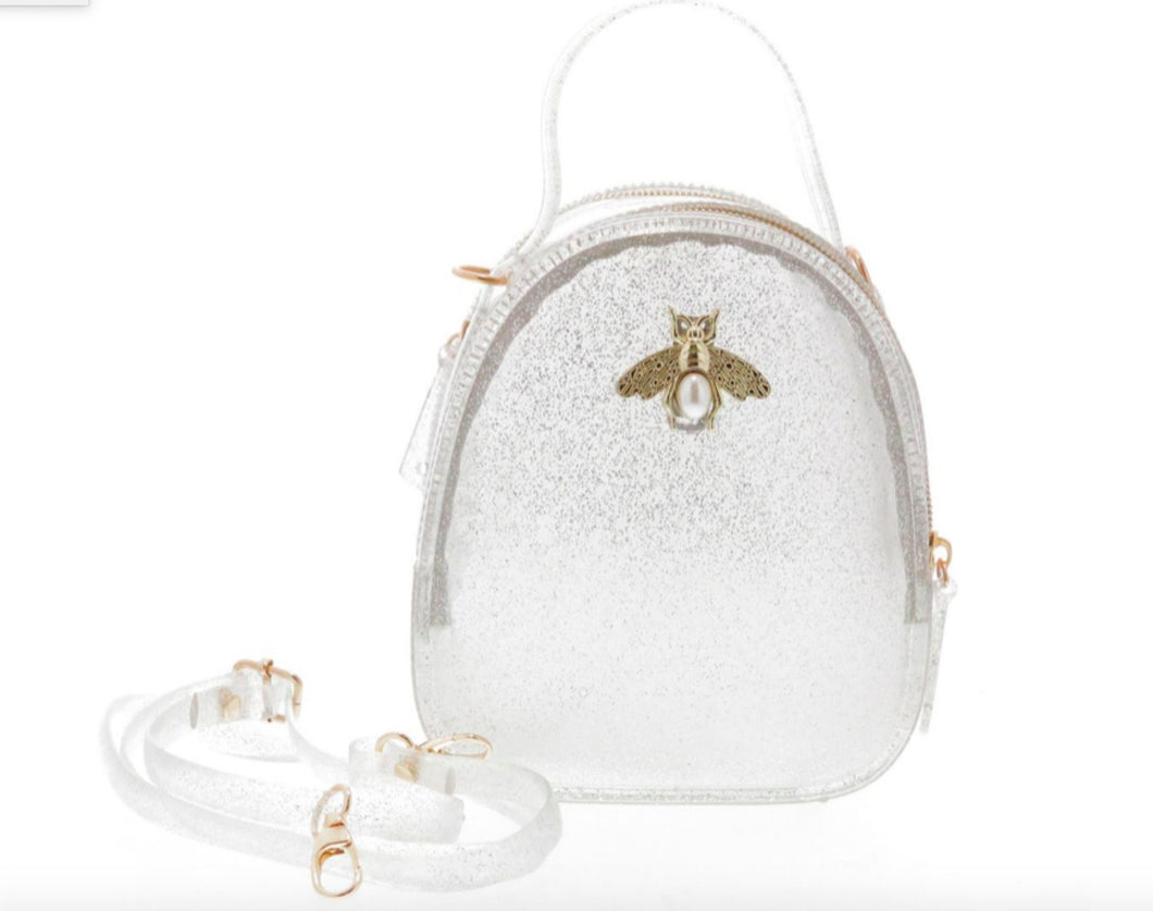 Doe a Dear Silver Glitter Jelly purse with Bee Pin - Honeypiekids.com