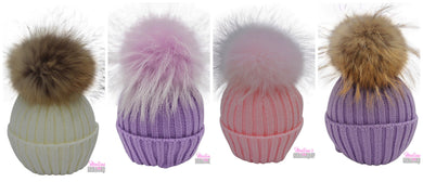 honeypiekids | Single Pom Knit Braids Hats-  4 Color Choices