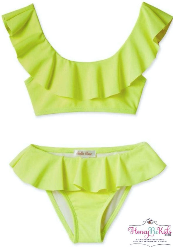HoneyPieKids.com | Stella Cove Girls Neon Yellow Draped Bikini.