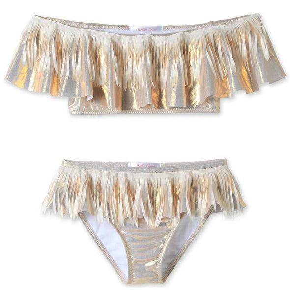 Honeypiekids | Stella Cove Gold Metallic Two Piece Swimsuit