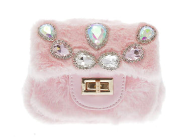 Honeypiekids | Doe a Dear Pink Mini Faux Fur Cross body w/ Teardrop Jeweled Purse