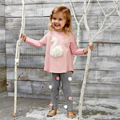 Honeypiekids | Mudpie Swan and Pom Pom 2 Piece Outfit