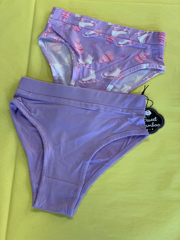 Honeypiekids | Sweet Bamboo 2 Piece Underwear In Purple Ice Skates and Solid Purple Pattern