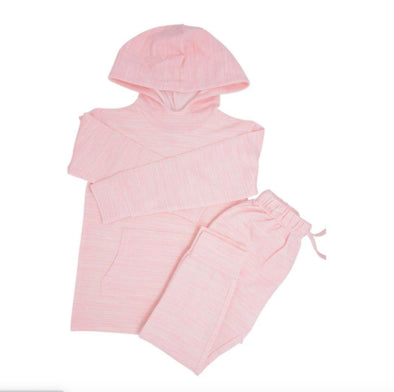 Honeypiekids | Sweet Bamboo Girls French Terry Jogger and Hoodie Set in PINK Chalk Lines Pattern