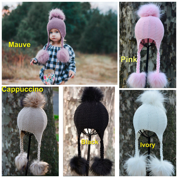 Honeypiekids | Triple Pom Knit Braids Hat- 5 Color Choices