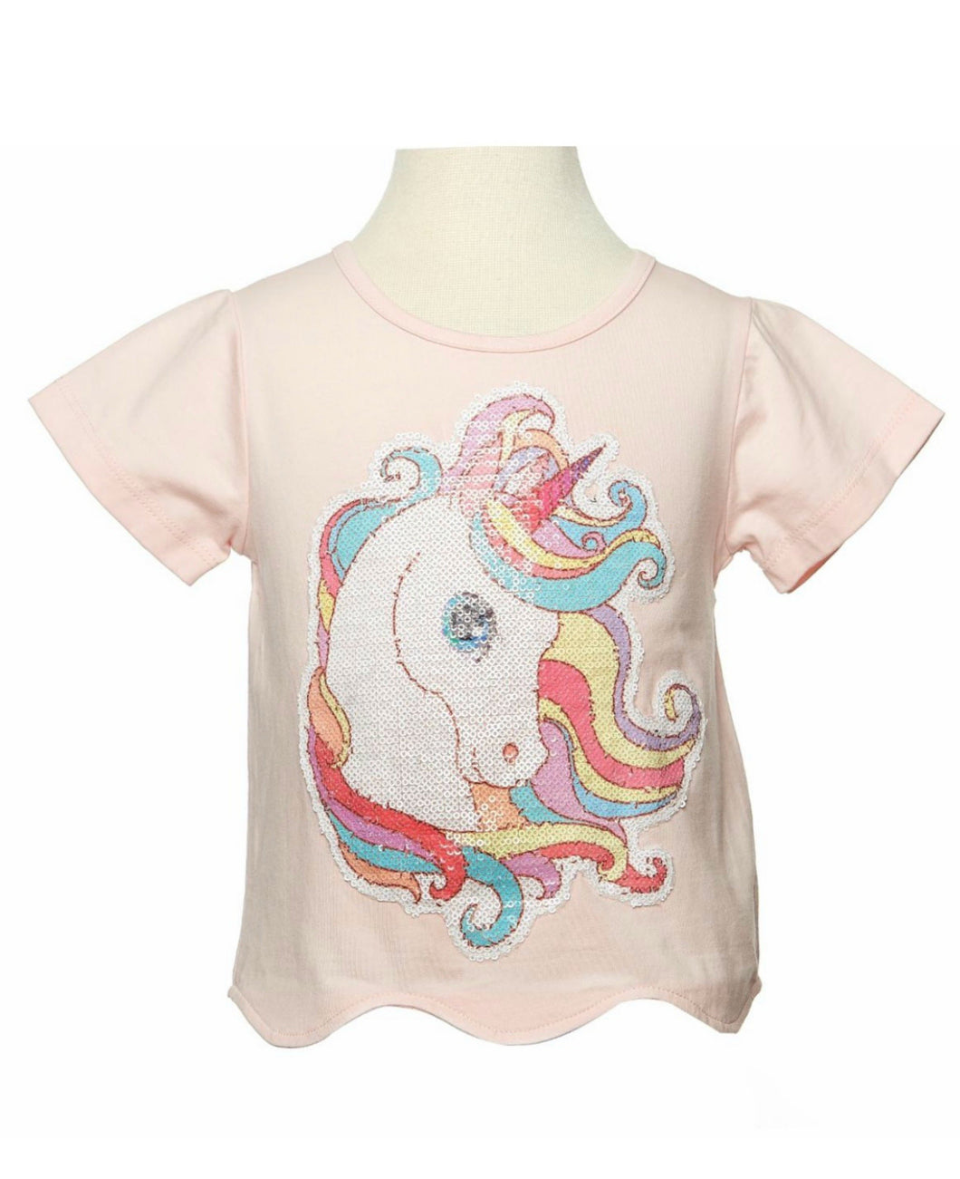 Doe a Dear Pink Scalloped Unicorn and Rainbow Tee - Honeypiekids.com