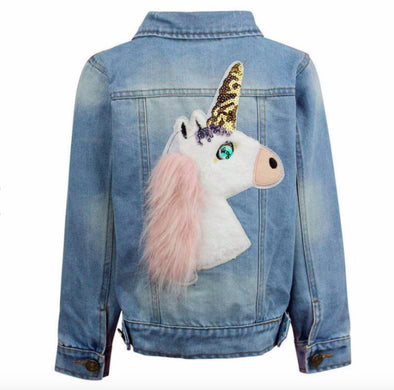 Honeypiekids | Fuzzy Unicorn Denim Jacket