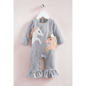 Mudpie Gray Unicorn Ruffle One Piece Outfit | Honeypiekids