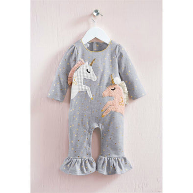 Honeypiekids | Mudpie Gray Unicorn Ruffle One Piece Outfit