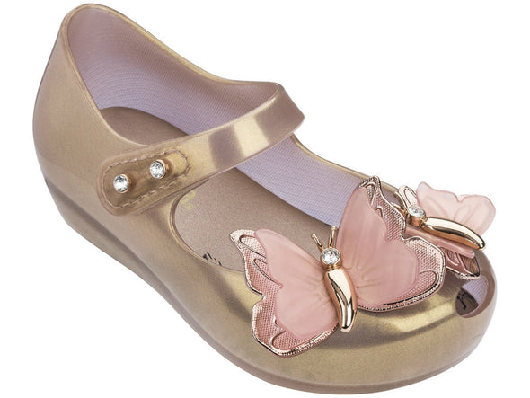 Honeypiekids | Mini Melissa Ultra Girl Swarovski Special Edition Rose Gold Butterfly Shoes
