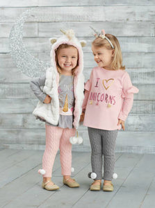 Mudpie White Unicorn Faux Fur Hooded Vest | Honeypiekids