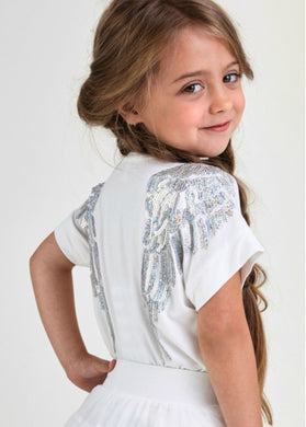 Angel's Face Short Sleeve Slouch Wings Top in Snow Drop White