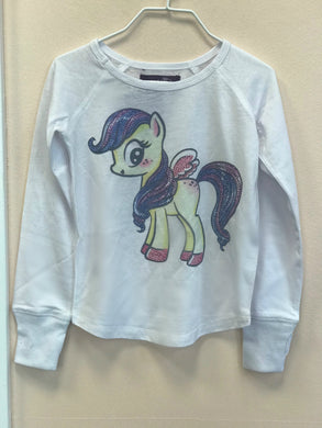 Sparkle by Stoopher Pony Long Sleeve White Shirt | Honeypiekids