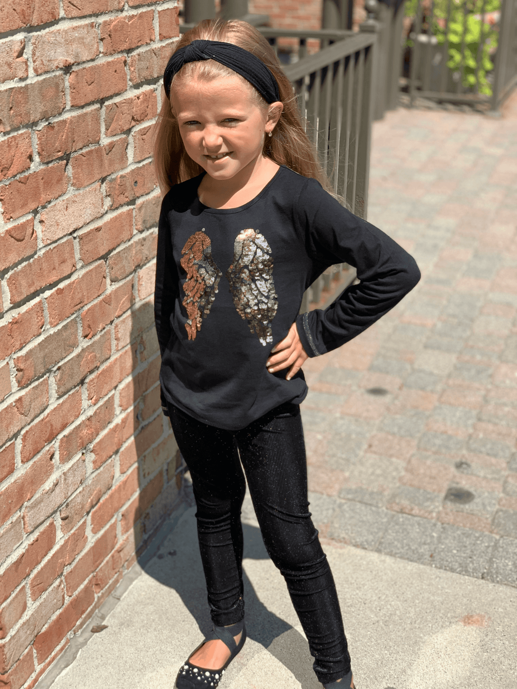 honeypiekids | 3Pommes Girls Black Sequin Wings Top