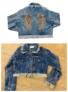 Ooh La La Couture Wings Denim Jacket - Honeypiekids.com