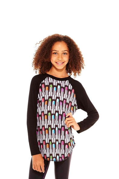 Honeypiekids | Terez Girls Lipstick Long Sleeve Baseball Shirt