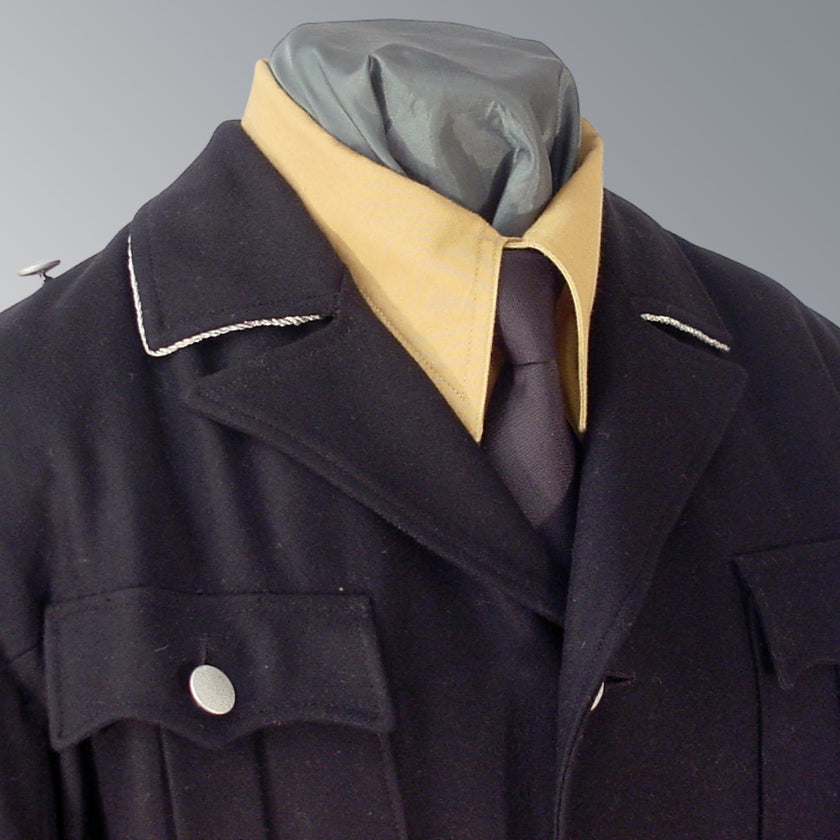 WWII Allgemeine SS Black Officer M32 Uniform Jacket with Silver Collar Piping and Pebble Grain Buttons