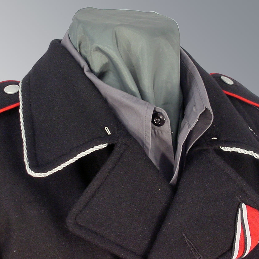 WWII German Waffen SS Officer Black Wool Panzer Wrap with Collar Piping and Shoulder Boards