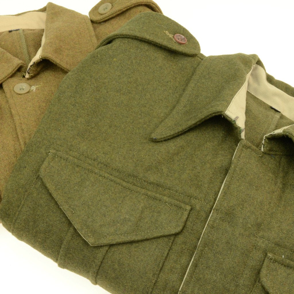 WWII Canadian P37 Battledress Uniform Jacket Khaki Green Wool Comparison