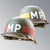 US WWII M1 Infantry Military Police MP Helmet Divisional and Regimental Hand Painted Emblems