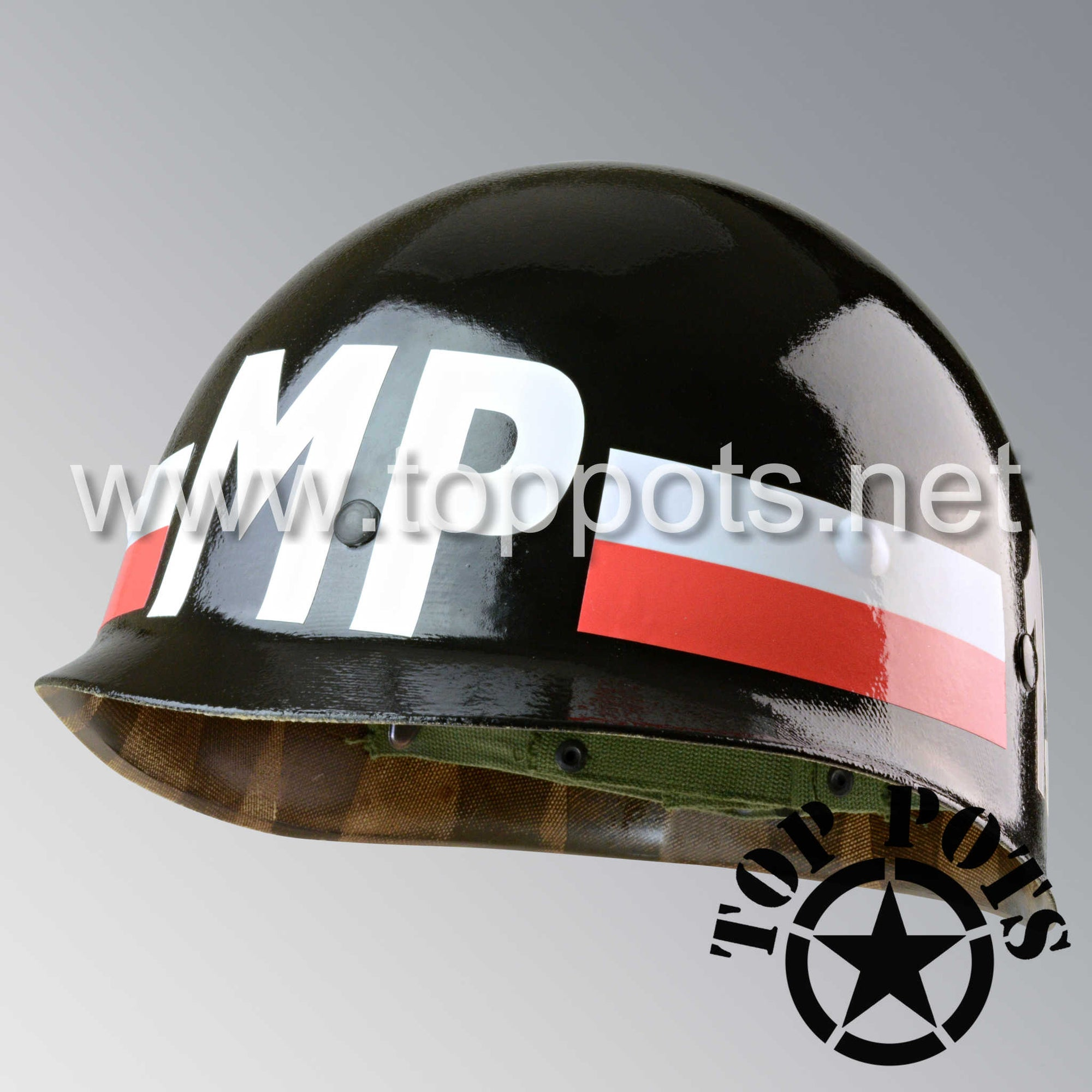 Image 1 of Vietnam War US Army Original M1 Infantry Helmet P55 Liner with 101st Airborne MP Battalion Emblem
