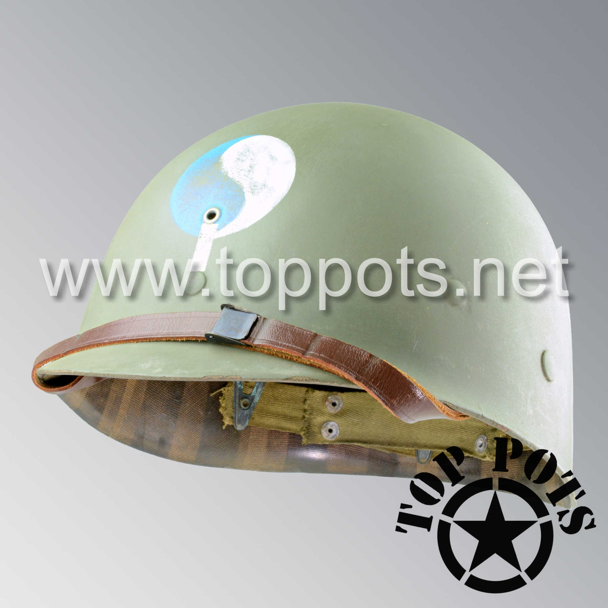 Image 1 of WWII US Army Aged Original M1 Infantry Helmet Liner with 29th Infantry Division Officer Emblem