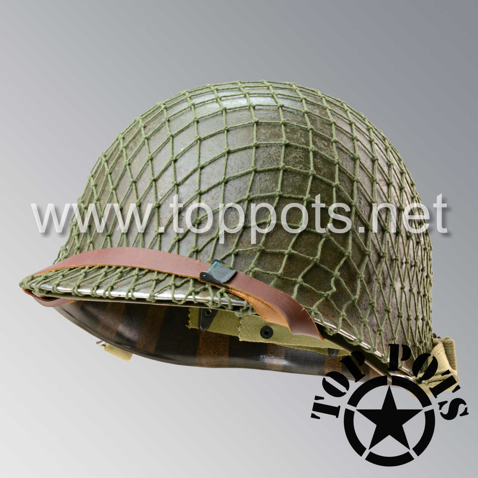 Image 1 of WWII US Army Aged Original M1 Infantry Helmet Swivel Bale Shell and Liner with 2nd Ranger Diamond and OD 7 Net