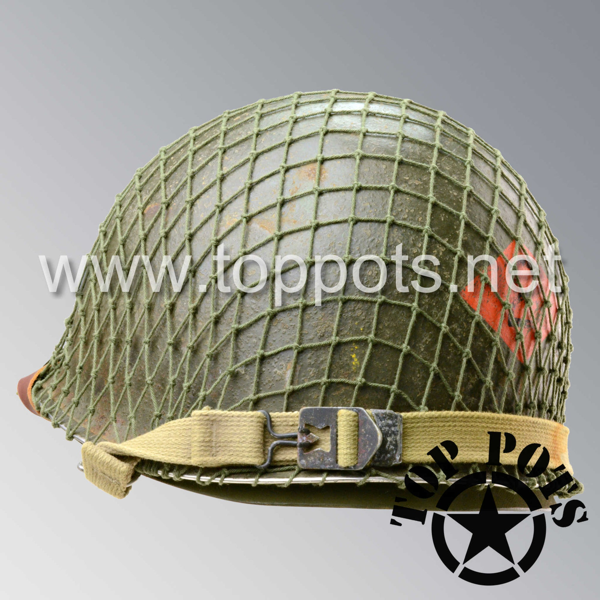 Image 5 of WWII US Army Aged Original M1 Infantry Helmet Swivel Bale Shell and Liner with 2nd Ranger Diamond and OD 7 Net