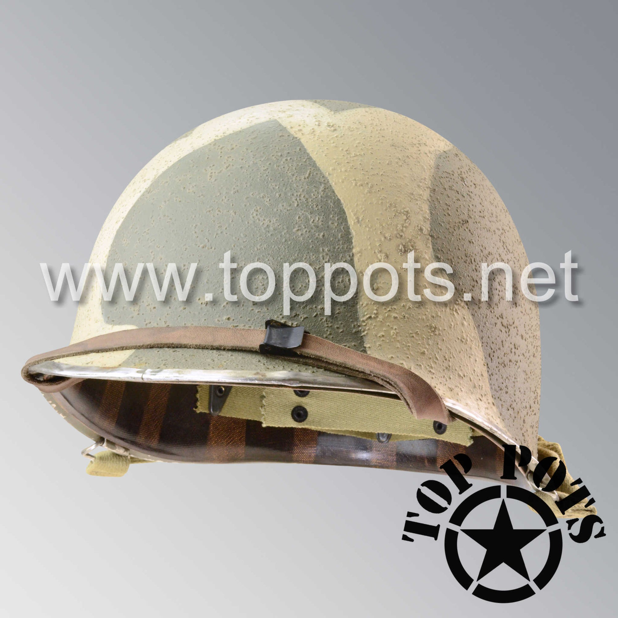Image 1 of WWII US Army Aged Original M1 Infantry Helmet Swivel Bale Shell and Liner with 7th Infantry Division Camouflage Emblem