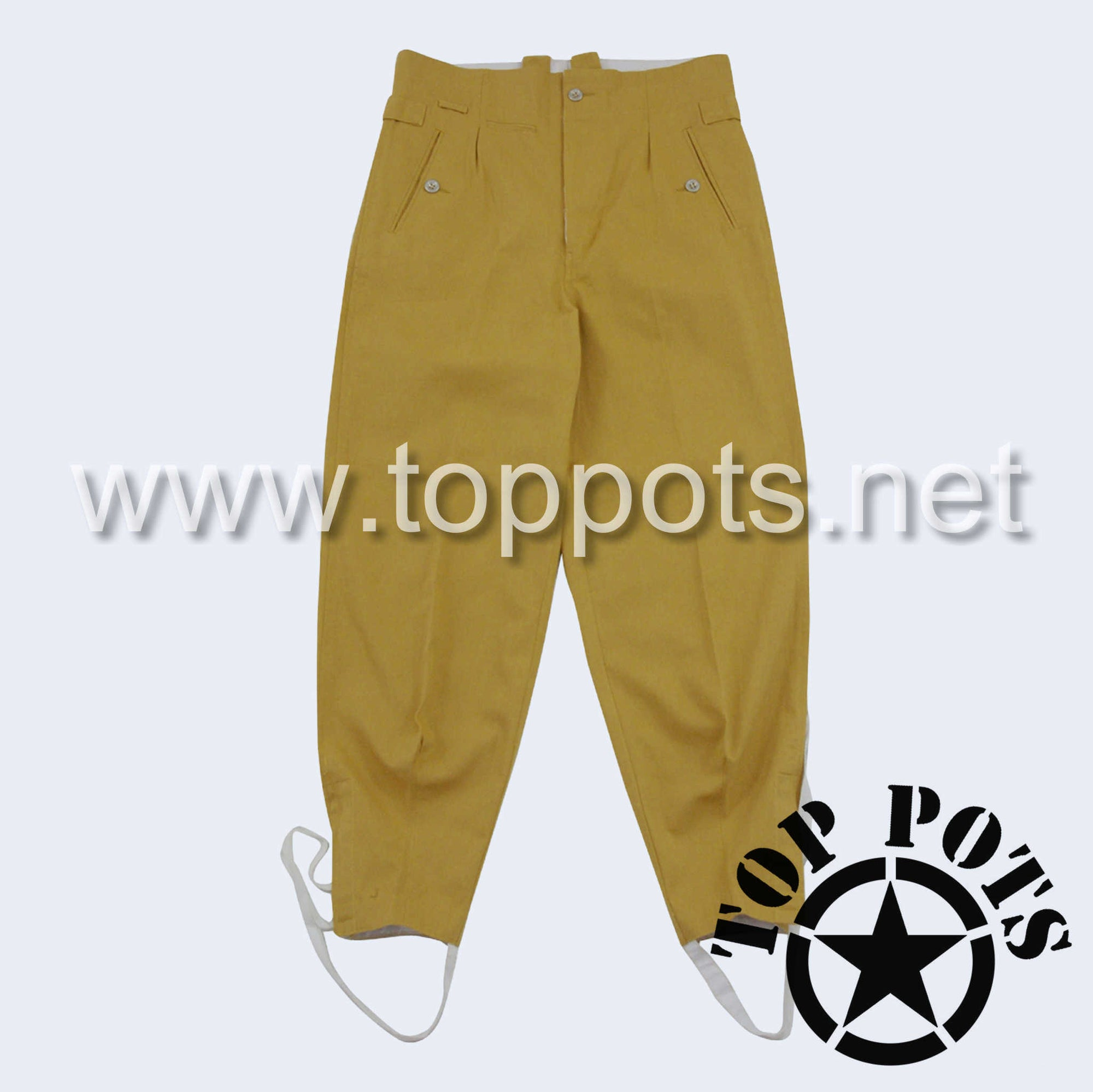WWII German Army M1943 DAK Afrika Korps Tropical Uniform Sahariana Field Pants Sand Khaki - Waffen SS Enlisted Trousers