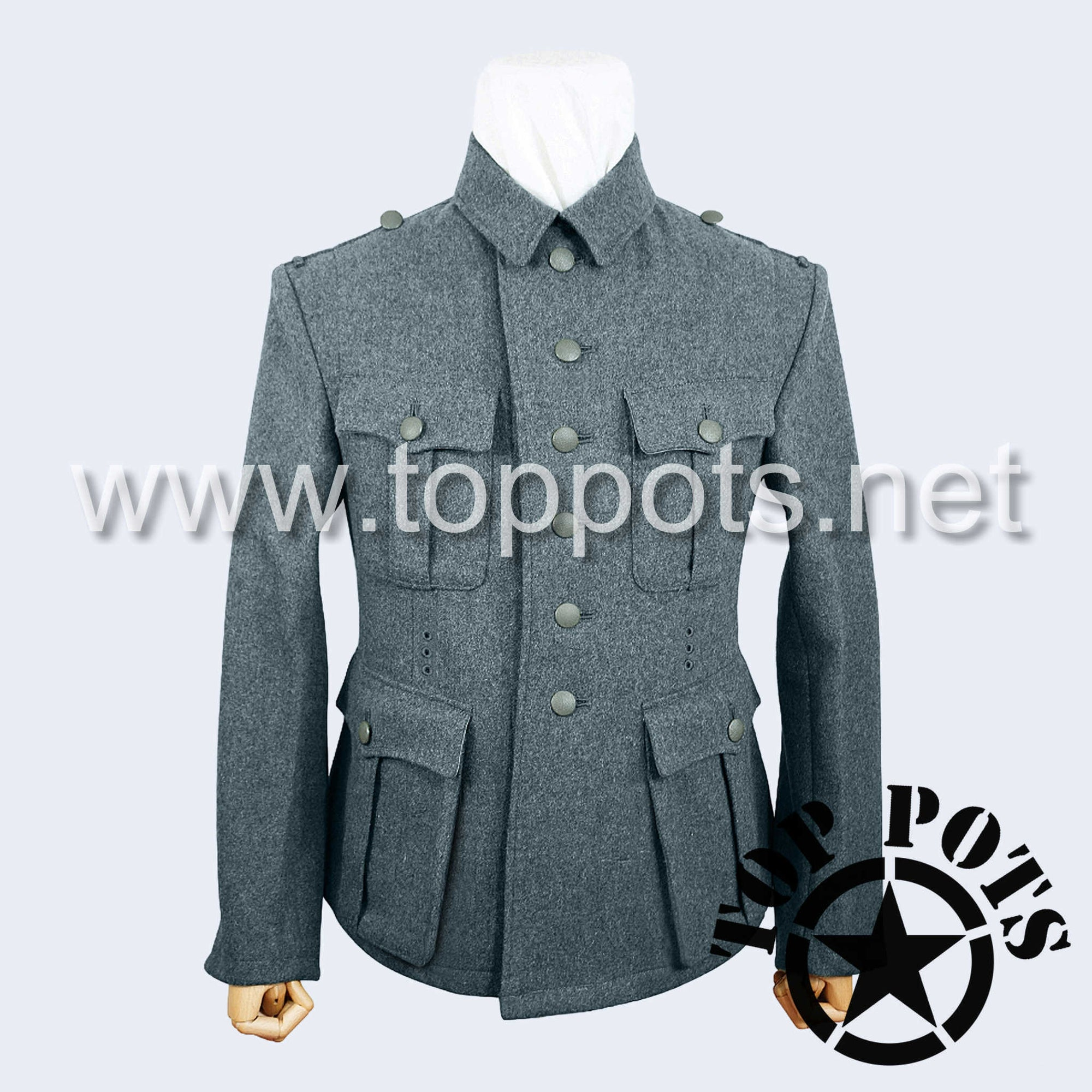 WWII German Army M1941 Waffen SS Uniform Jacket Blue-Green Grey Italian Field Wool - Enlisted Tunic