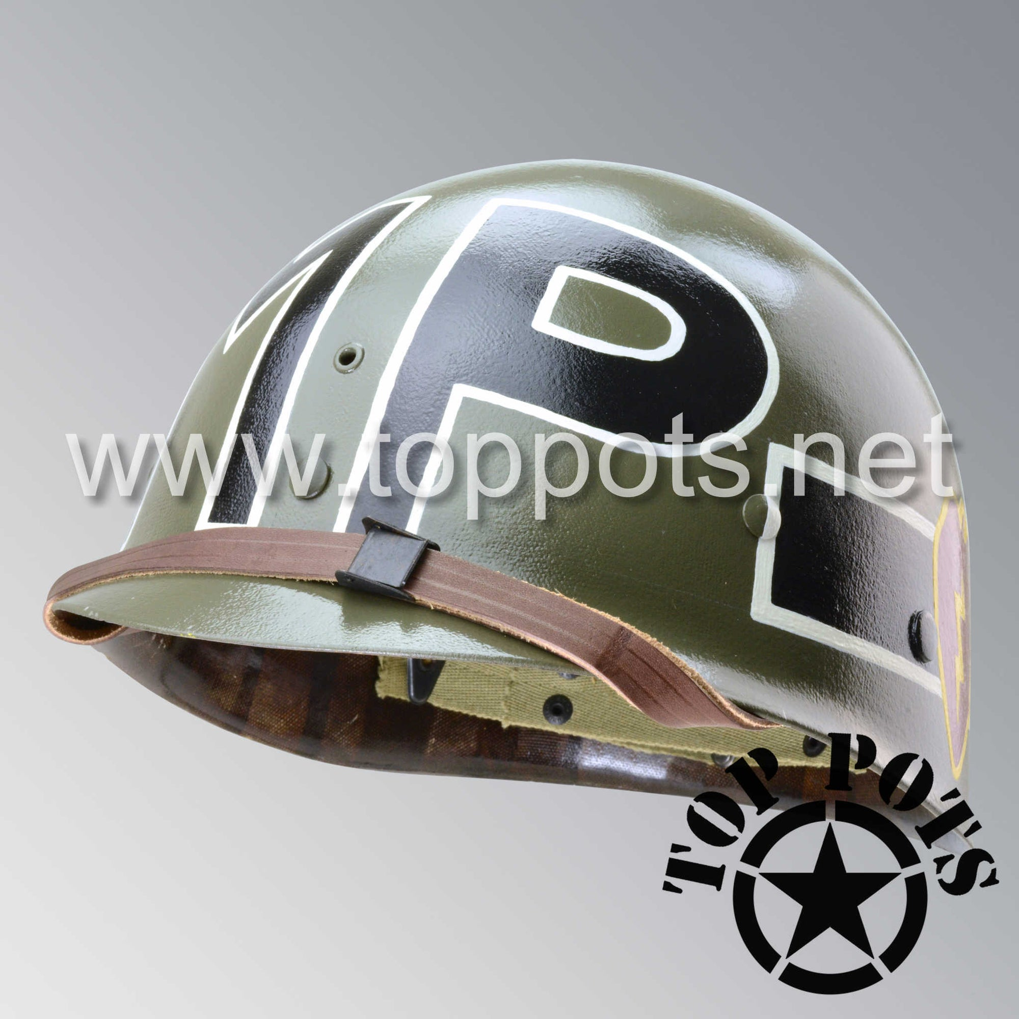 Image 1 of Korean War US Army Restored Original M1 Infantry Helmet Liner with 25th MP Military Police Company 25th Infantry Division Emblem