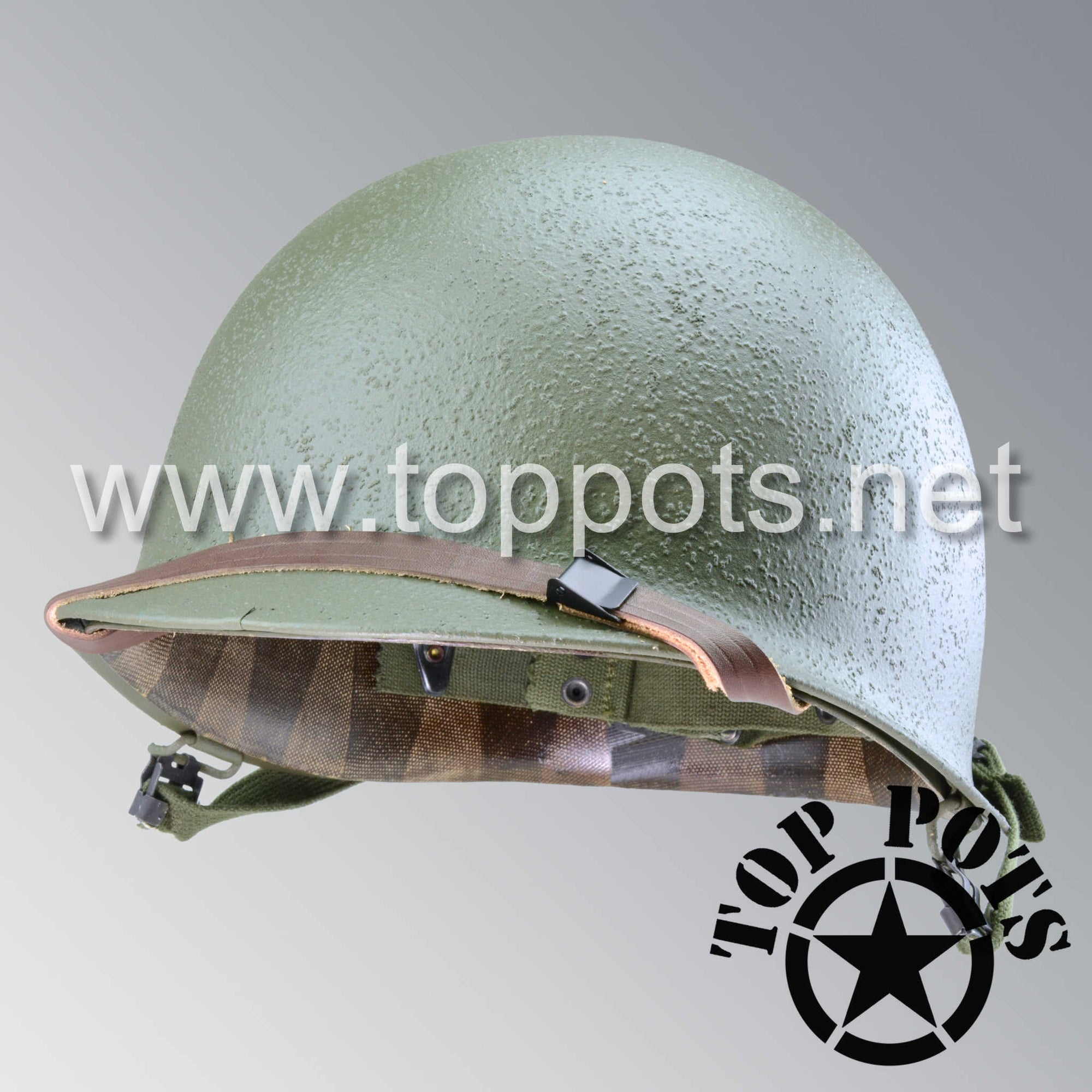 Image 1 of Korean War US Army Restored Original M1 Infantry Helmet Swivel Bale Shell and Liner with T1 Chinstraps