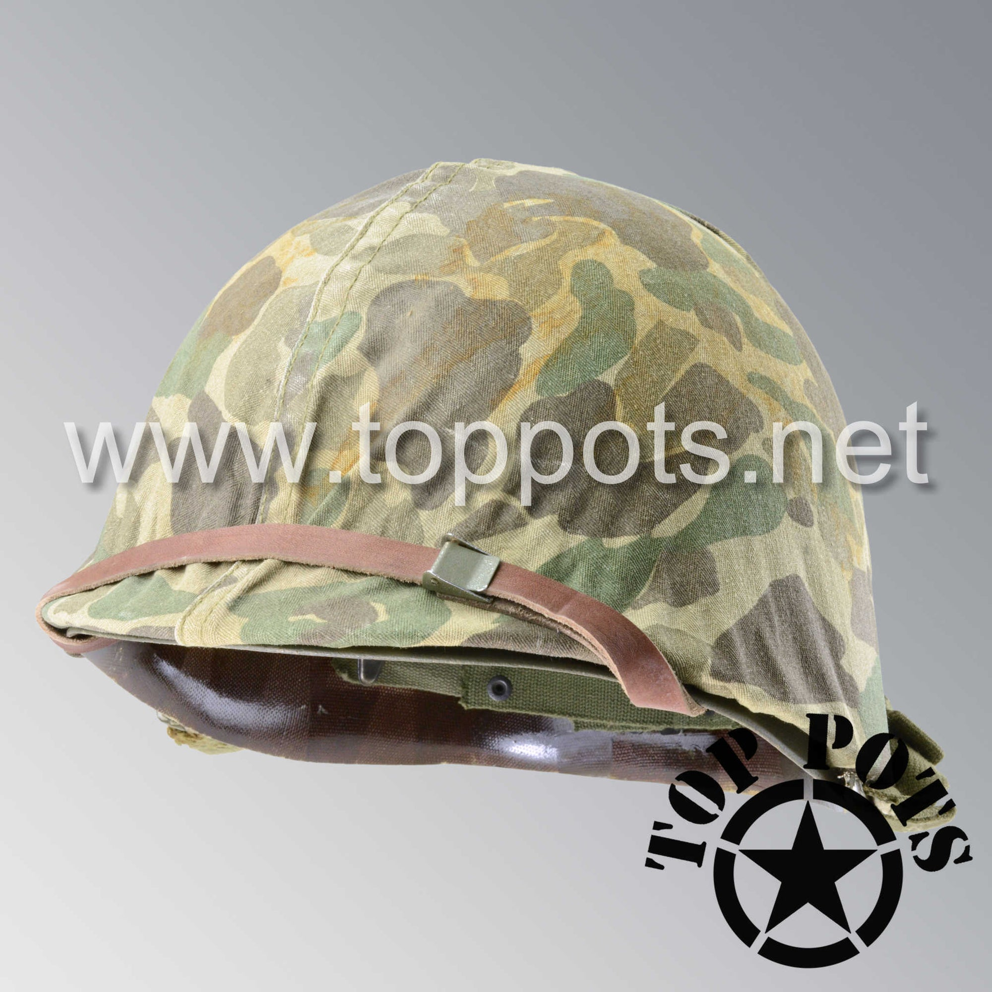 Image 1 of Korean War USMC Restored Original M1 Infantry Helmet Swivel Bale Shell and Liner with Marine Corps Camouflage Cover