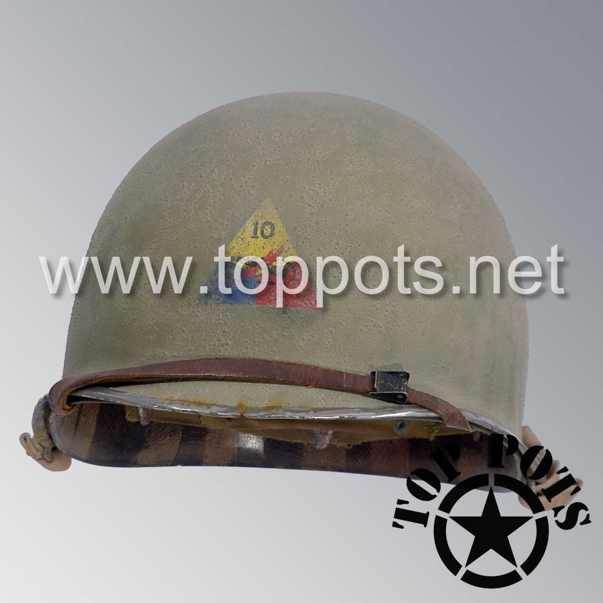 Image 1 of WWII US Army Aged Original M1 Infantry Helmet Fix Bale Shell and Liner with 10th Armored Division Emblem