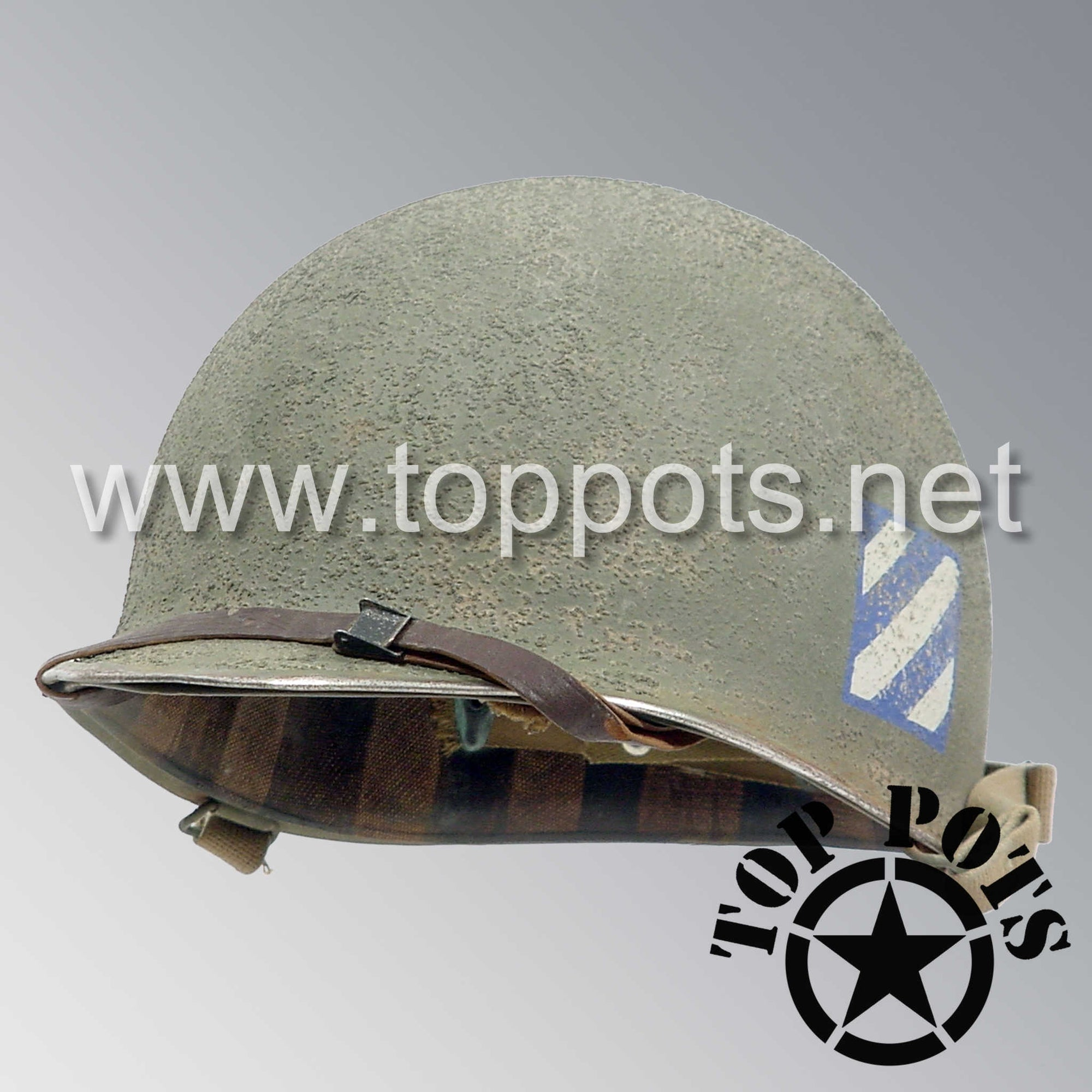 Image 1 of WWII US Army Aged Original M1 Infantry Helmet Swivel Bale Shell and Liner with 3rd Infantry Division Emblem