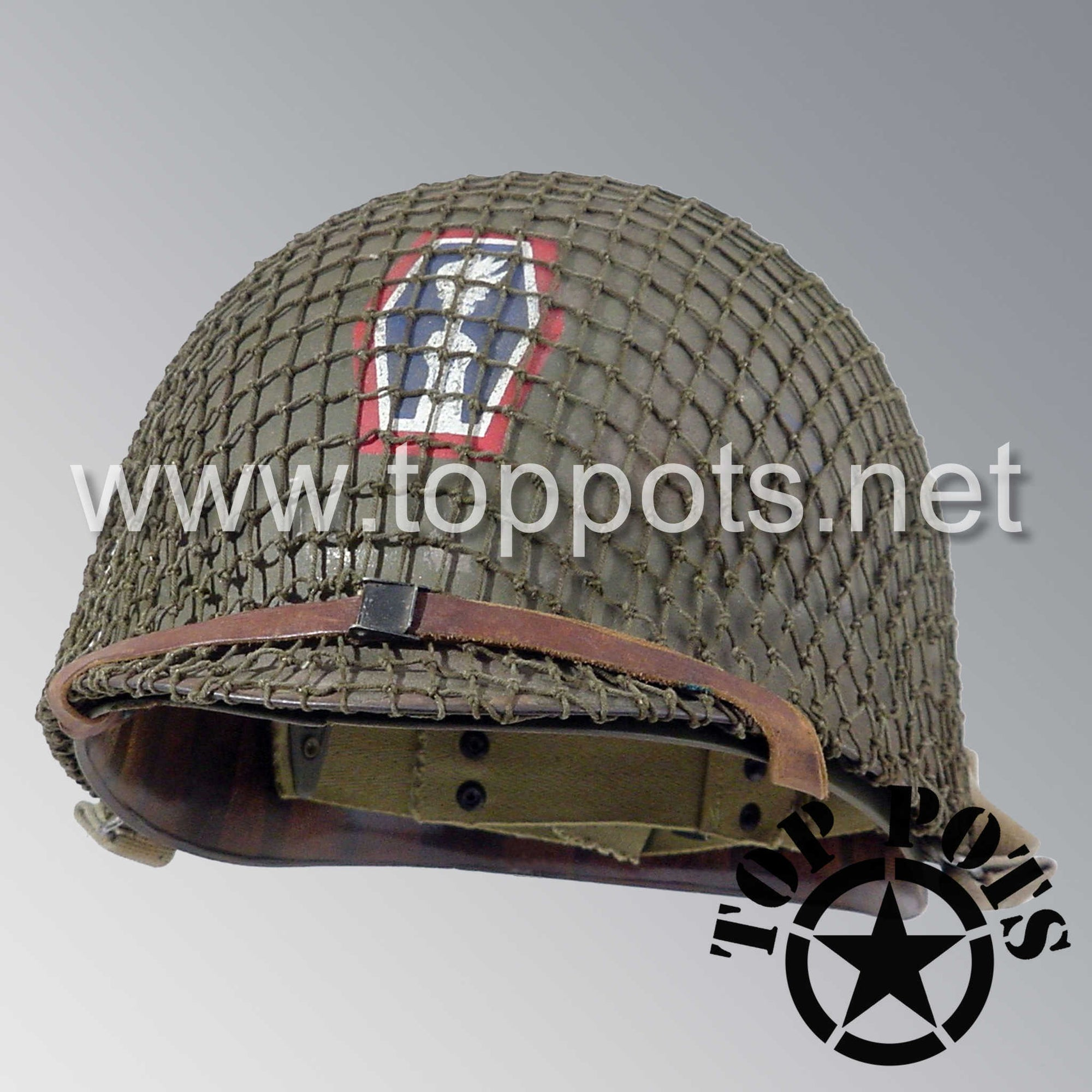 Image 1 of WWII US Army Aged Original M1 Infantry Helmet Swivel Bale Shell and Liner with 442nd Infantry Division Emblem with Net