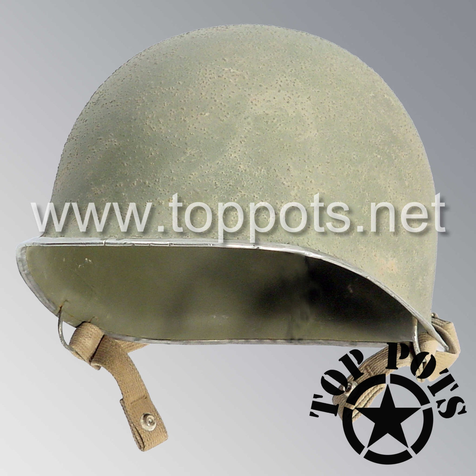 Image 1 of WWII US Army Aged Original M2 Paratrooper Airborne Helmet D Bale Shell with Chinstraps