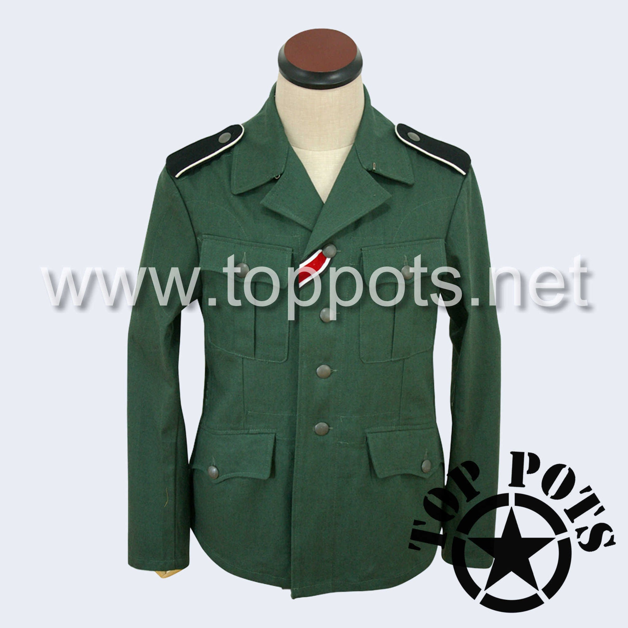 WWII German Army M1937 Waffen SS Enlisted HBT Reed Green Summer Uniform Jacket - Field Tunic