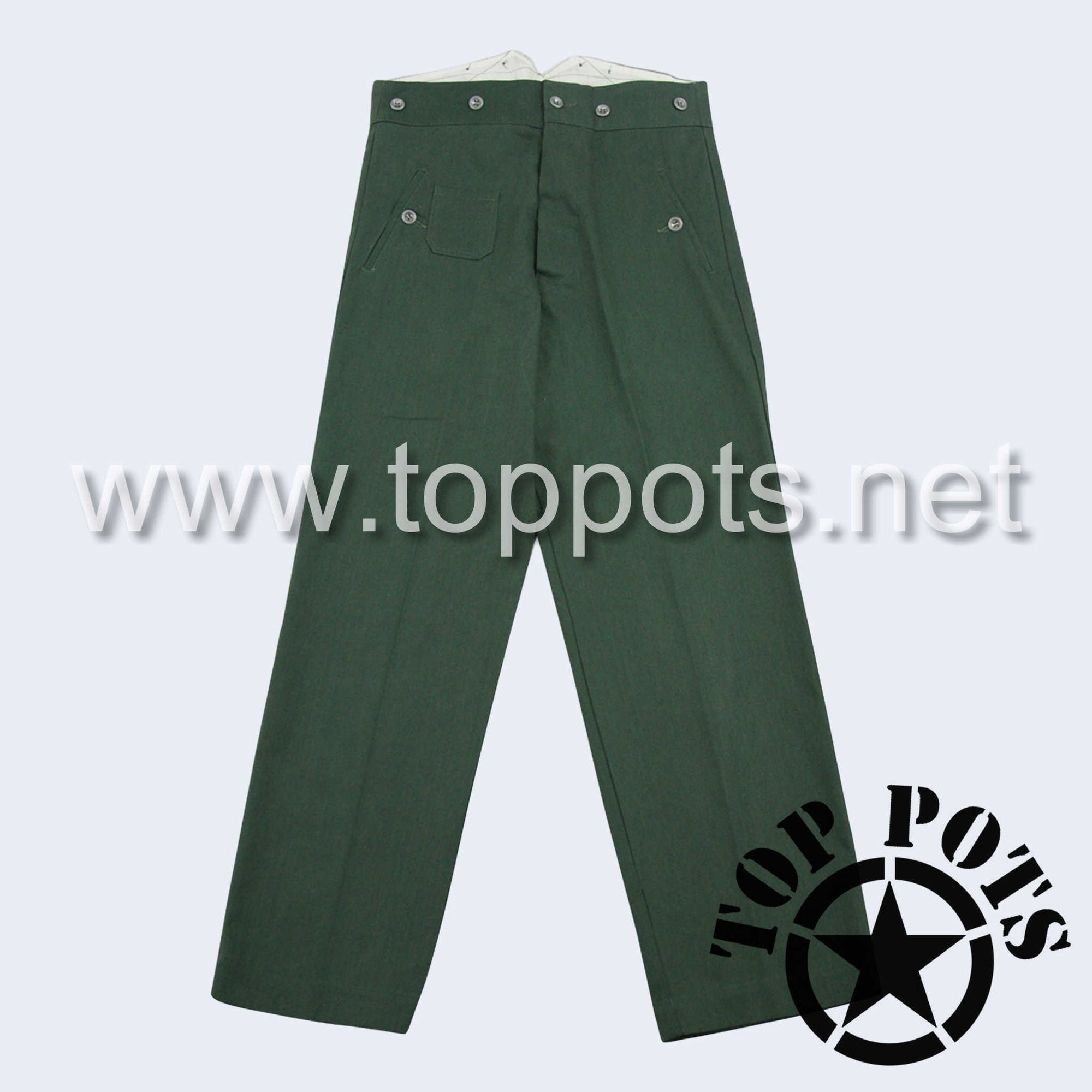 WWII German Army M1940 Waffen SS Enlisted HBT Reed Green Summer Uniform Pants - Field Trousers