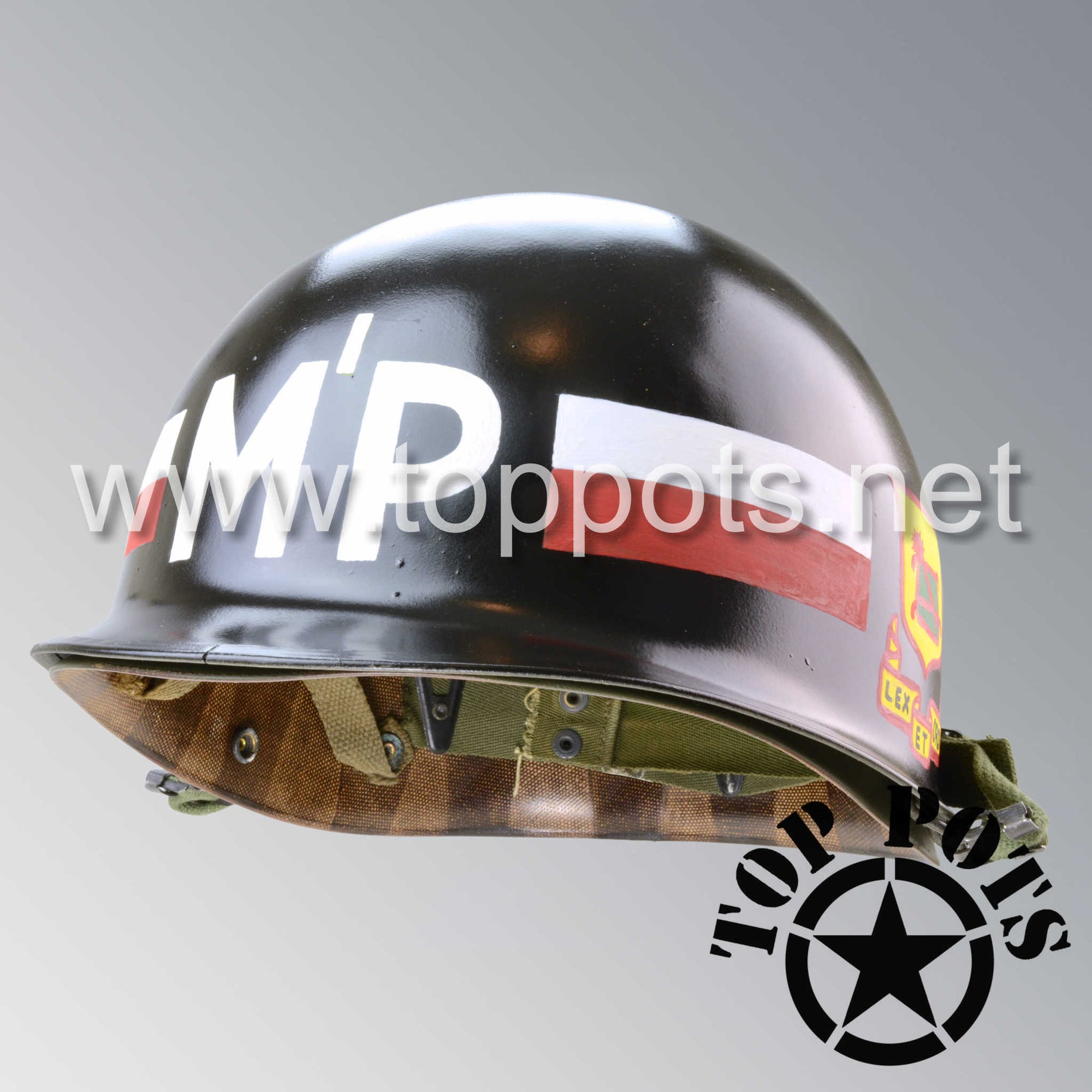 Image 1 of Vietnam War US Army Original M1 Infantry Helmet and Liner with 76th MP Battalion 8th Military Police Brigade Emblem