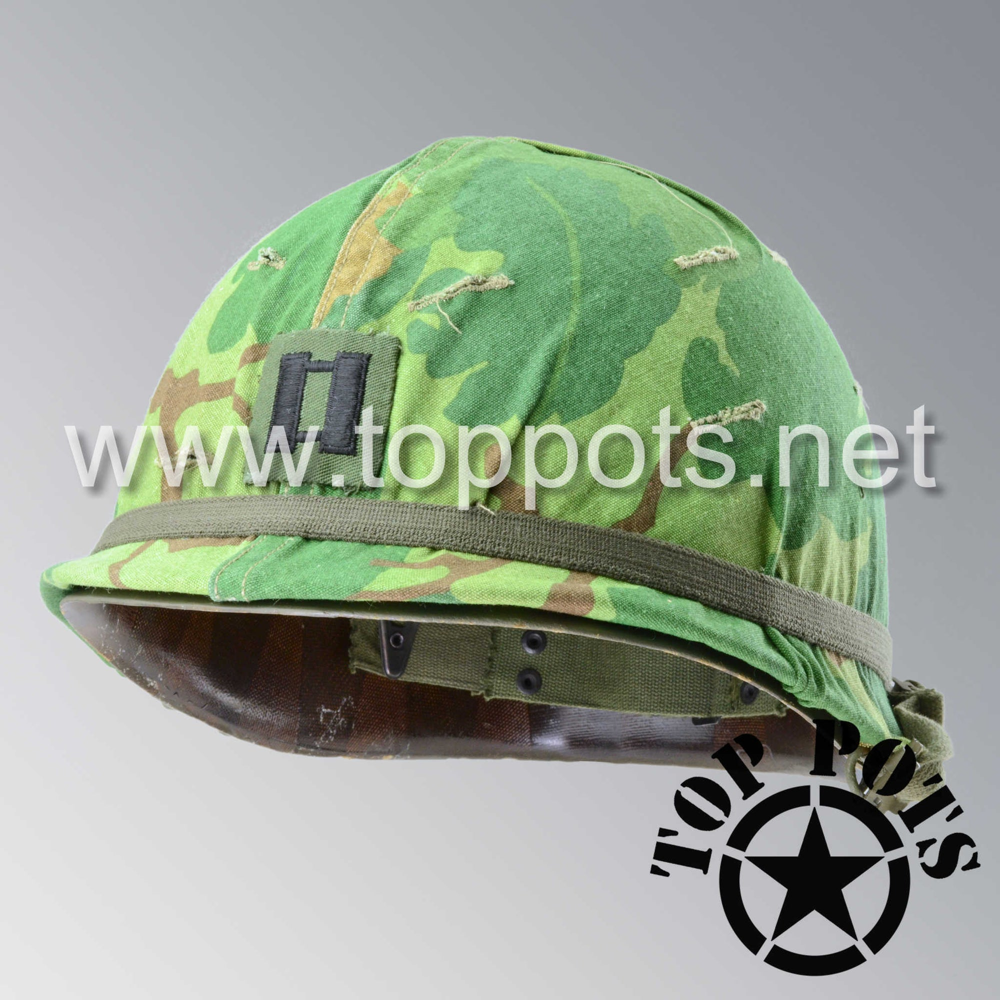 Image 1 of Vietnam War US Army Original M1 Infantry Helmet Swivel Bale Shell and P55 Liner with Captain Willard Mitchell Camouflage Cover