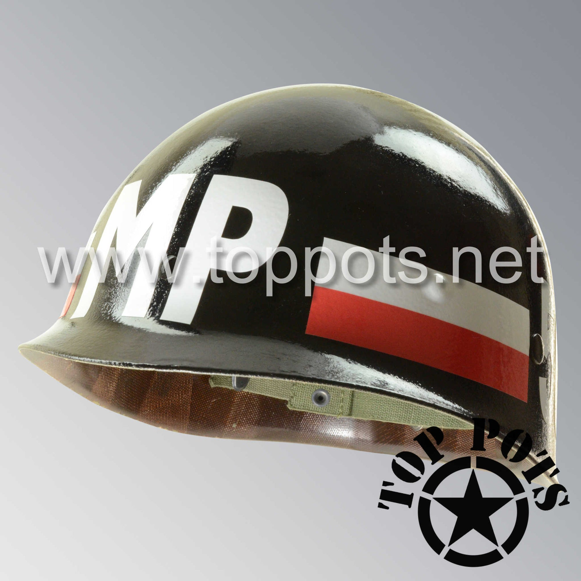 Image 1 of Vietnam War US Army Original M1 Infantry Helmet P55 Liner 503rd MP Battalion 6th Military Police Group 3rd Army Emblem
