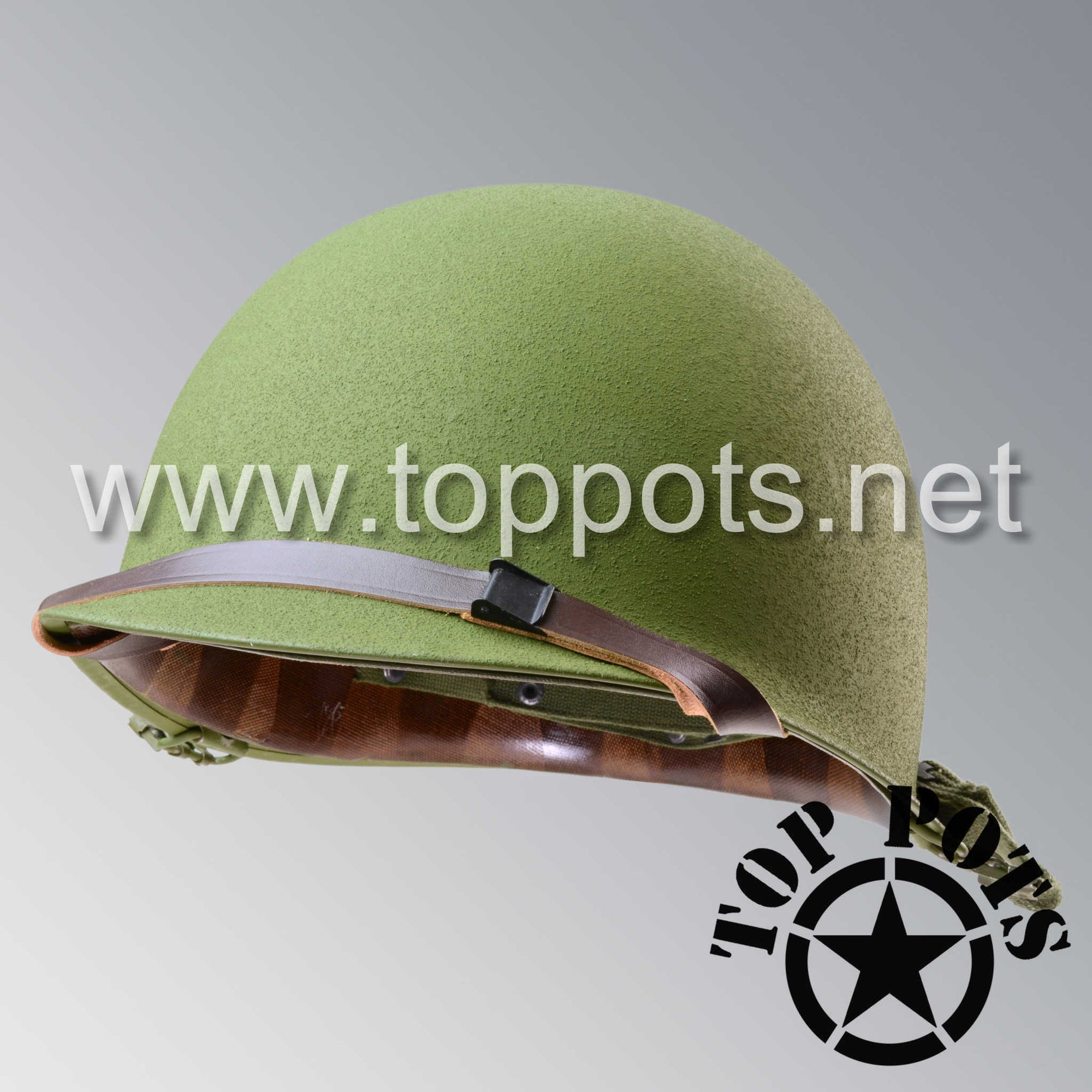 Image 1 of Vietnam War US Army Original M1 Infantry Helmet Swivel Bale Shell and P55 Liner with Leather Liner Chinstrap
