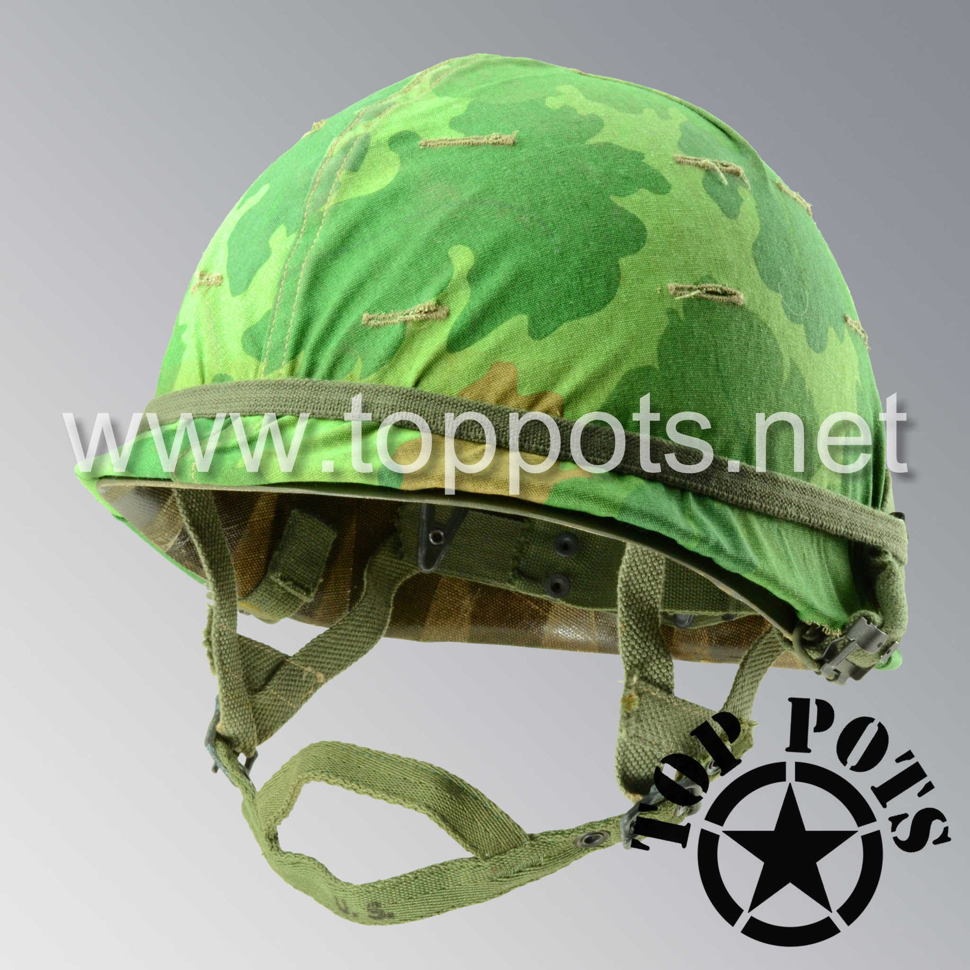 Image 1 of Vietnam War US Army Restored Original P55 M1C Paratrooper Airborne Helmet Swivel Bale Shell and Liner with Mitchell Pattern Camouflage Cover