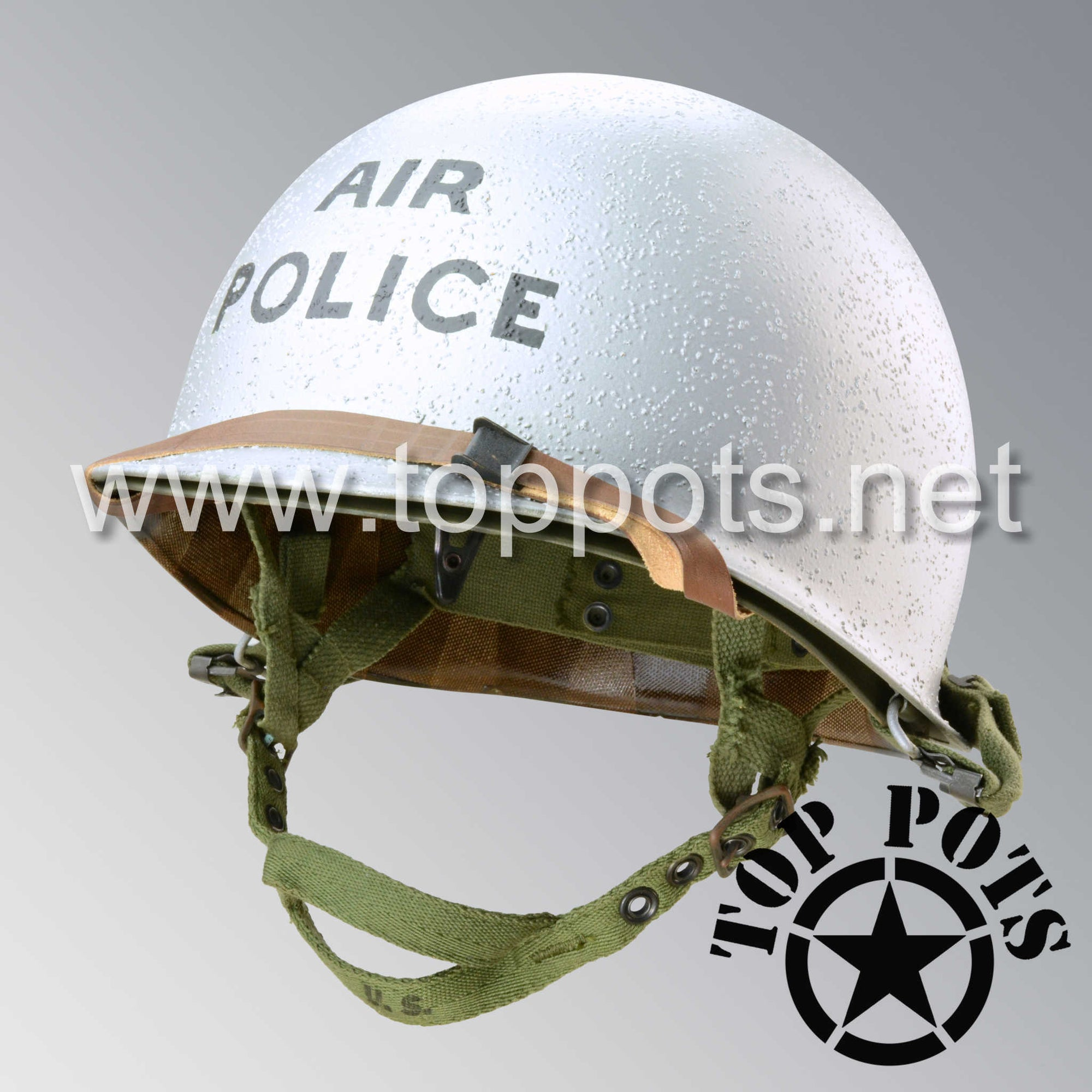 Image 1 of Vietnam War US Army Restored Original P55 M1C Paratrooper Airborne Helmet Swivel Bale Shell and Liner with USAF Air Police Emblem
