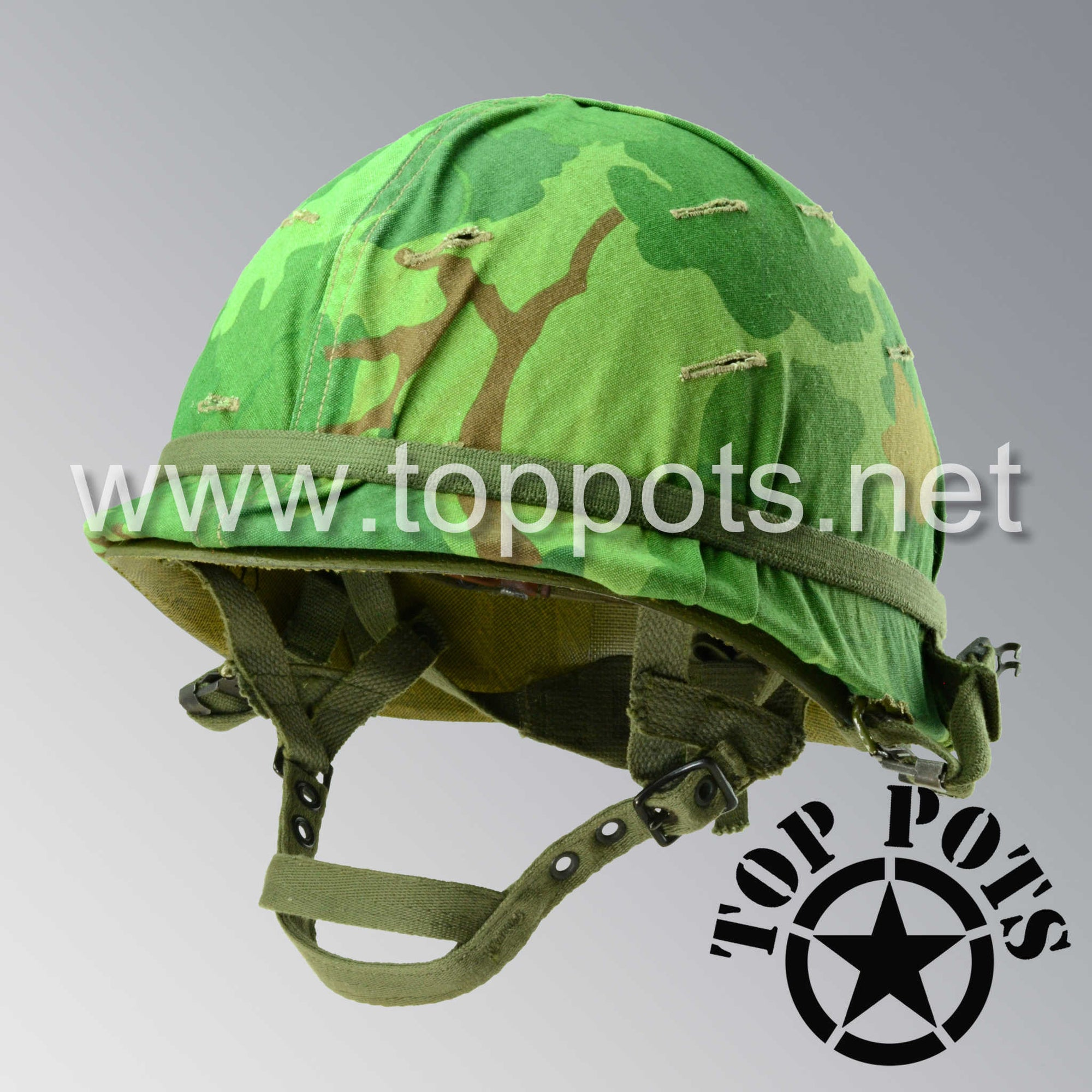 Image 1 of Vietnam War US Army Restored Original P64 M1C Paratrooper Airborne Helmet Swivel Bale Shell and Liner with Mitchell Pattern Camouflage Cover