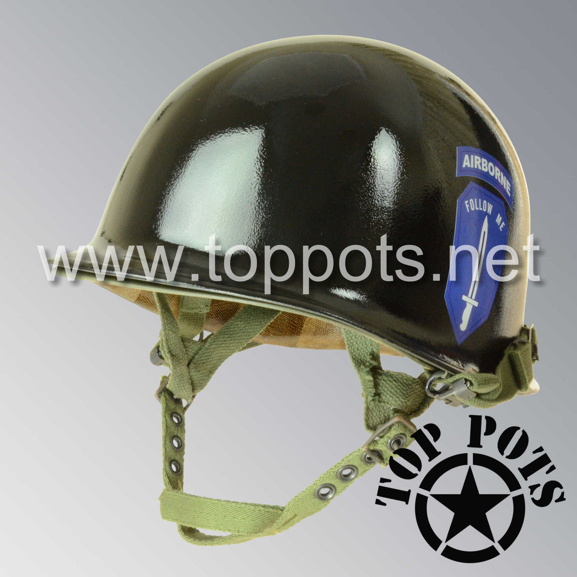 Image 1 of Vietnam War US Army Restored Original P55 M1C Paratrooper Airborne Helmet Swivel Bale Shell and Liner with Ranger Infantry School Emblem