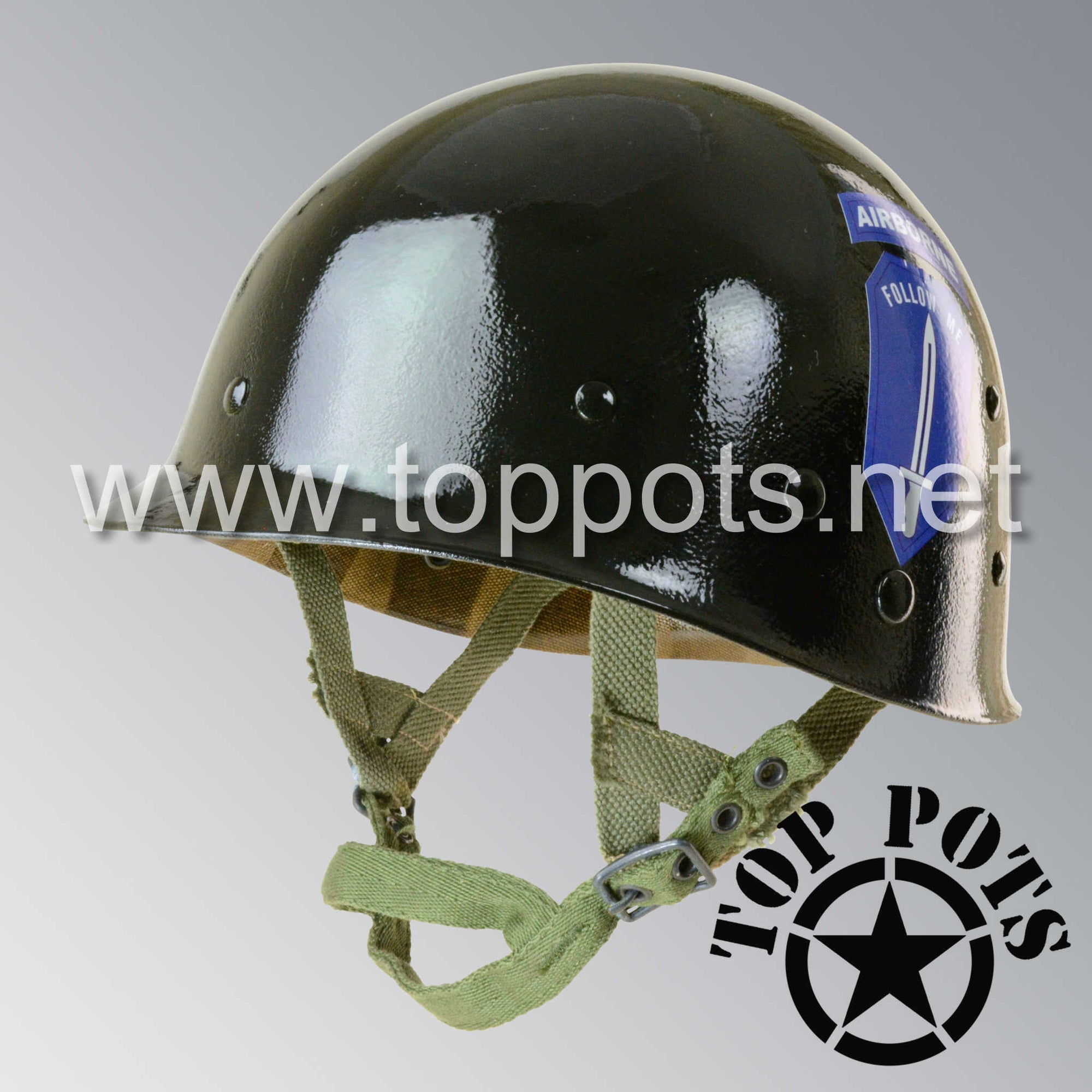 Image 1 of Vietnam War US Army Restored Original P55 M1C Paratrooper Airborne Helmet Liner with Ranger Infantry School Emblem