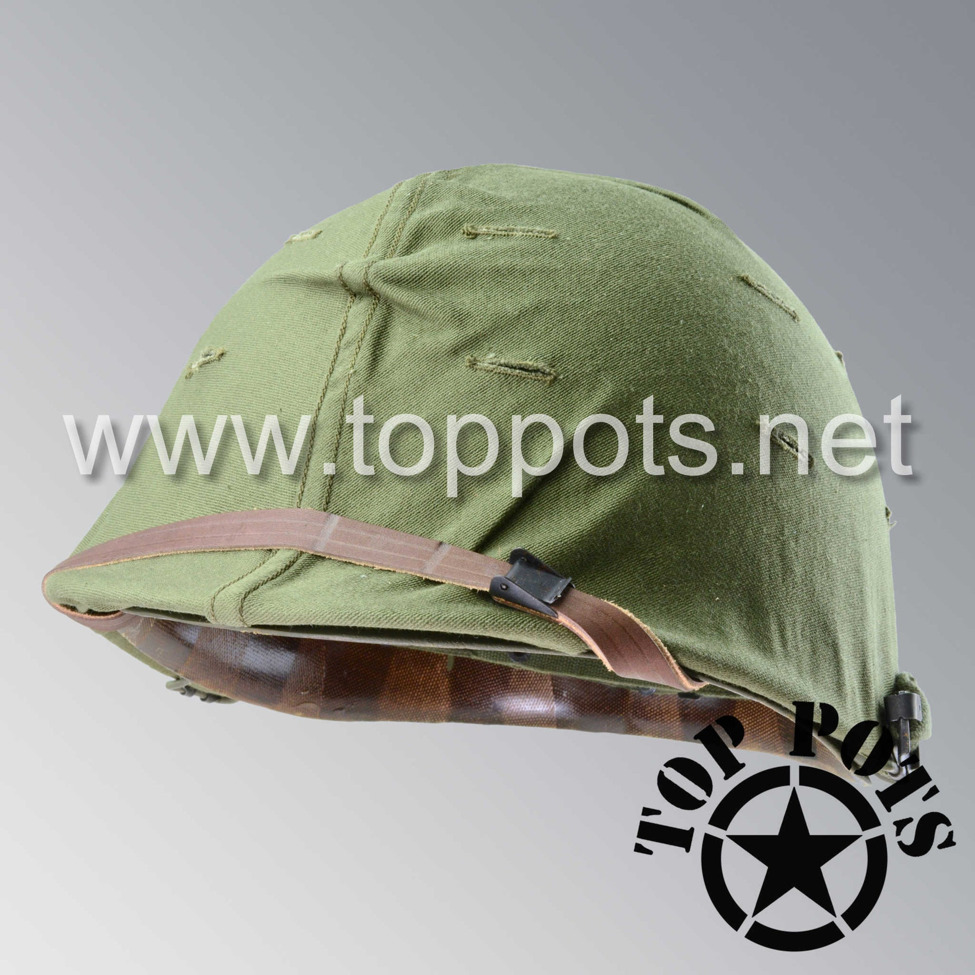 Image 1 of Vietnam War US Army Original M1 Infantry Helmet Swivel Bale Shell and P55 Liner with Early War Olive Drab Cover
